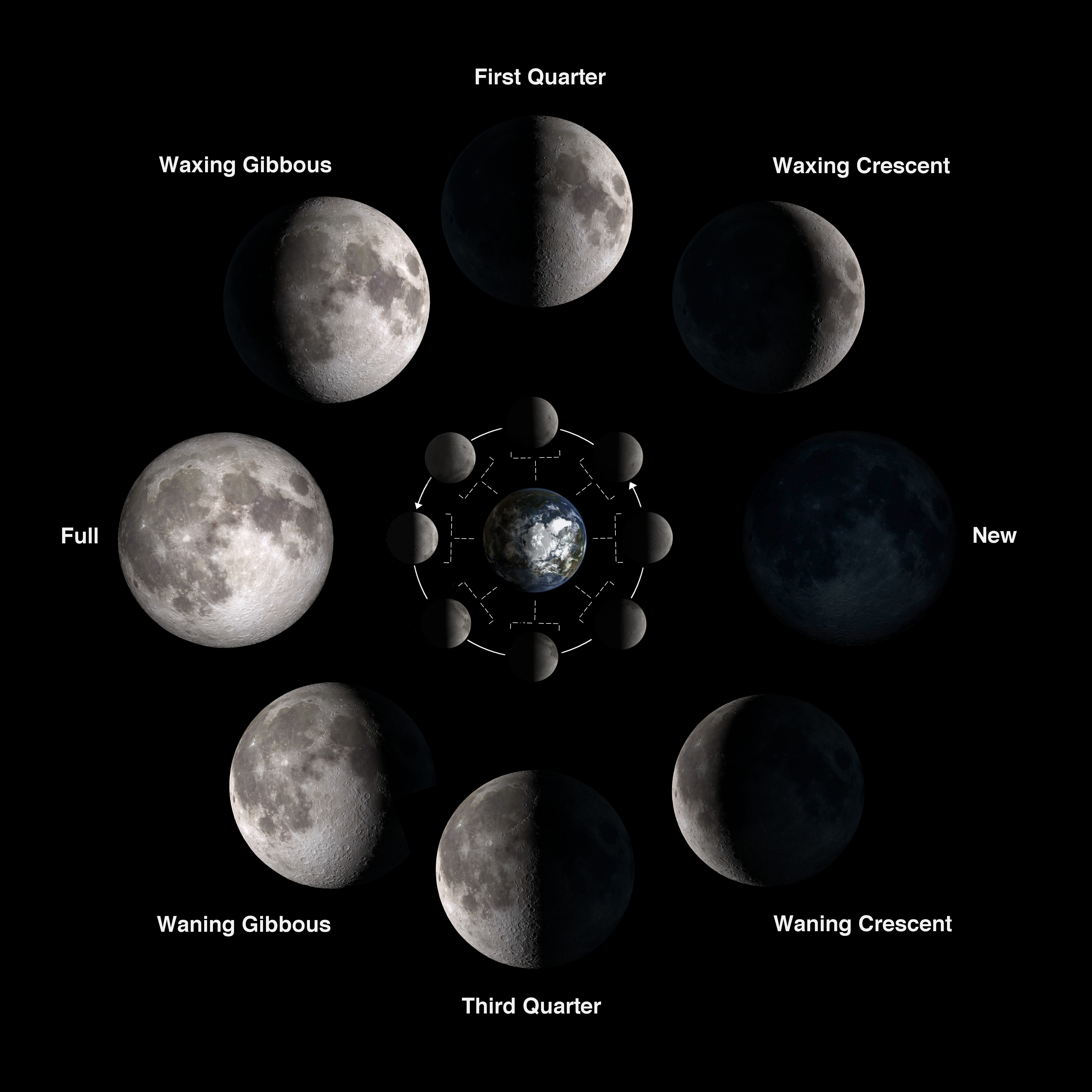 The Phases of the Moon shown next to their location around Earth relative to the Sun