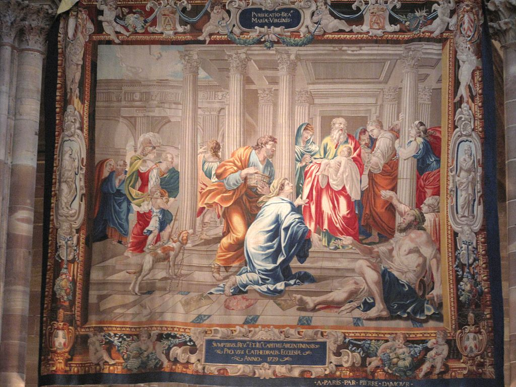 A tapestry from Strasbourg depicting the Purification of the Virgin Mary and the Presentation of Jesus at the Temple