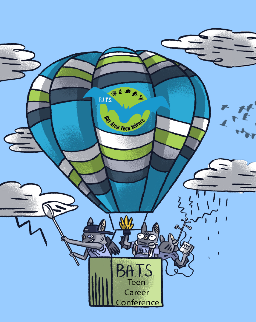 cartoon of mice in hot air balloon