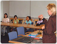 Dr. Janet Luhmann speaks to a group of students