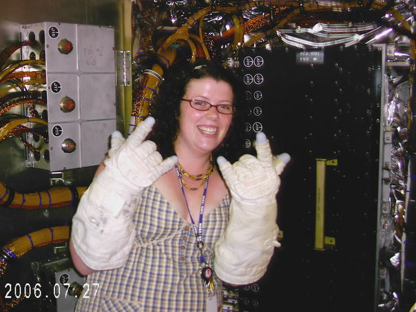 woman with high tech gloves