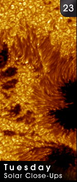 close up of sunspots on sun