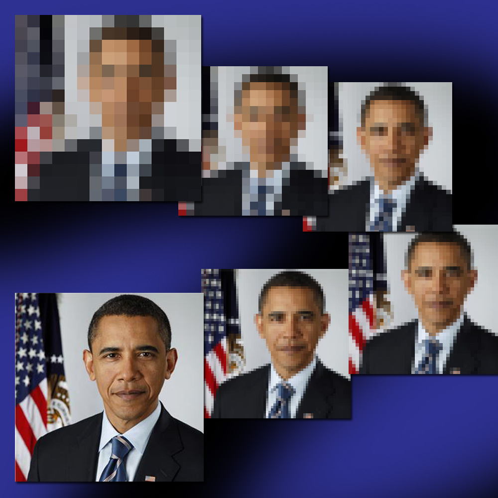 multiple images of President Obama from fuzzy to clear